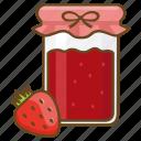 conserve, jam, jar, preserve, spread, strawberry