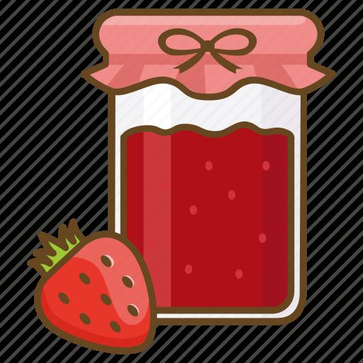 conserve, jam, jar, preserve, spread, strawberry icon
