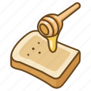 bread, breakfast, honey, toast icon