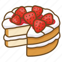 cake, dessert, bakery, cream, strawberry