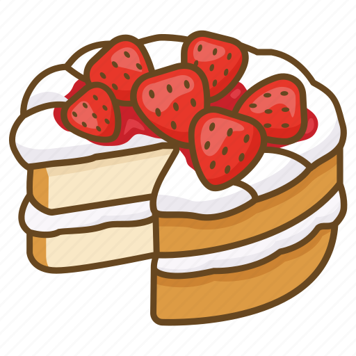 bakery, cake, cream, dessert, strawberry icon