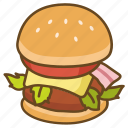 bun, burger, cheeseburger, gourmet, hamburger, lunch icon