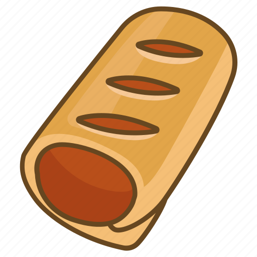 bakery, meat, mince, pastry, roll, sausage, strudel icon