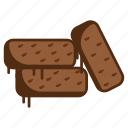 chocolate, brownie, baked, pastry, cocoa, pieces icon