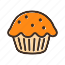 bake, bakery, cake, cookery, dough, gastronomy, muffin icon