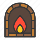 bakery, brick oven, fireplace, gastronomy, restaurant, shop icon