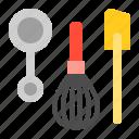 bakery, gastronomy, measuring spoon, restaurant, shop, spatula, whisk icon