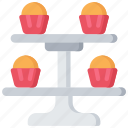 baked, baking, cooking, cupcake, cupsakes, stand icon