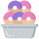baked, baking, cooking, donut, donuts, tray icon