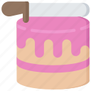 baked, baking, cake, cooking, knife, palette icon