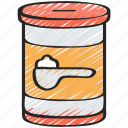 baked, baking, cooking, ingredients, soda icon