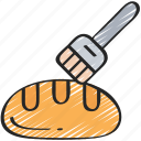 baked, baking, bread, brush, cooking, pastry icon