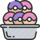 baked, baking, cooking, donut, donuts, tray
