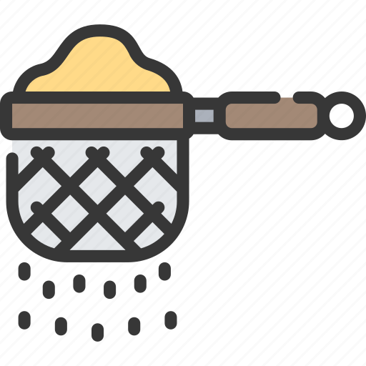 baked, baking, cooking, flours, sieve icon
