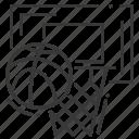 backboard, basketball, basketball ball, hoop