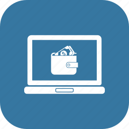 laptop, laptop pc, macbook, notebook, online money send, online shopping icon
