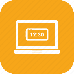 clock, laptop, laptop pc, macbook, notebook, time icon