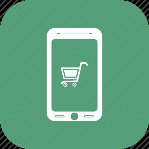 basket, mobile, online store, shop app, shop market icon