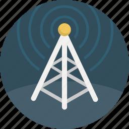 broadcast, communication, radio, signal, tower icon