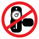 ban, camera, handycam, record, shoot, sign, video icon