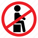 ban, box, fragile, no, sign, sit, up icon