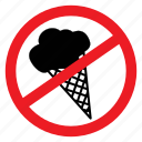 ban, cream, eat, ice, no, notice, sign icon