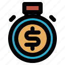 deadline, deposit, dollar, finance, money, stopwatch, timer