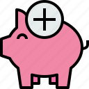 add, bank, banking, business, finance, piggy icon