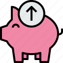arrow, bank, banking, business, finance, piggy icon