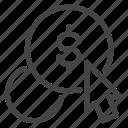 click, cost, cursor, dollar, financial, money, pay icon
