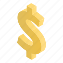 dollar, cartoon, money, isometric, gold, business, currency icon