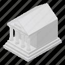 bank, cartoon, house, money, isometric, business, building icon