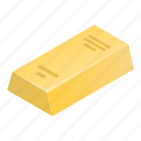 treasure, cartoon, money, isometric, gold, business, bar icon