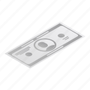 dollar, cartoon, isometric, frame, vintage, business, banknote icon