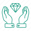 diamond, hands, hold, keep, money icon