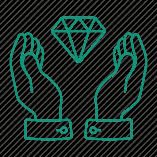 diamond, hands, hold, keep, money icon