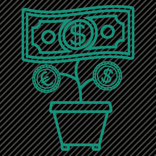 dollar, euro, money, money tree icon