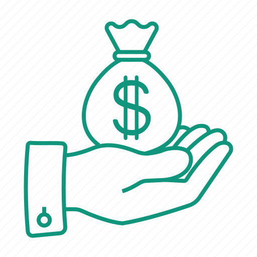 currency, dollar, earn, hand, money, money bag, pay icon