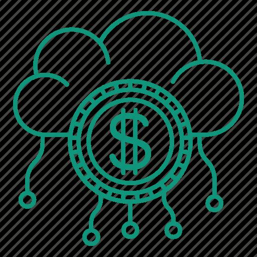 cash, cloud, coin, money, money convert icon