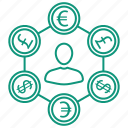 bank, currency, finance, money icon