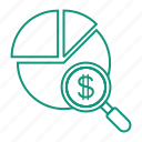 chart, currency, magnifier, money icon