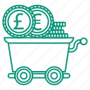 cent, coin, money, money trolley, trolley icon