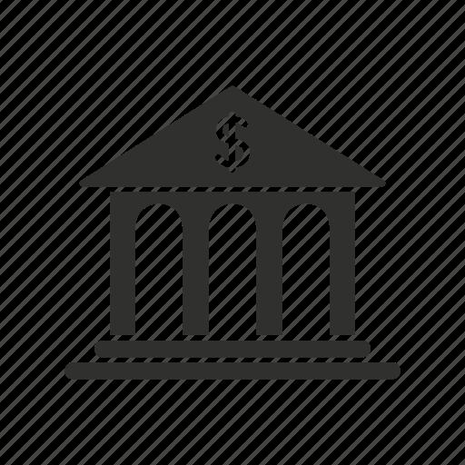bank, bank building, merchant bank, money icon