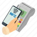 3, business, hand, isometric, nfc, payment, shopping icon