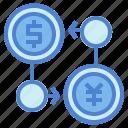 banking, dollar, exchange, yen icon