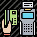 card, credit, machine, payment, receipt