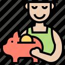 deposit, money, personal, piggy, save icon