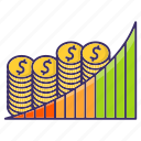 banking, business, chart, growth, money icon