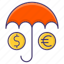insurance, money, protection, umbrella icon
