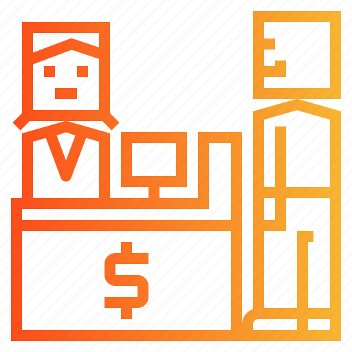 bank, cash, customer, desk, service icon